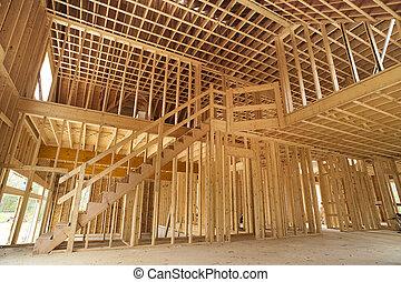interior, indramme, i, en, nyt hus