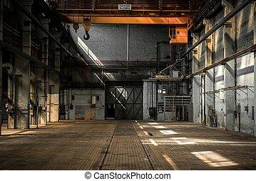 interior, industrial, viejo, fábrica