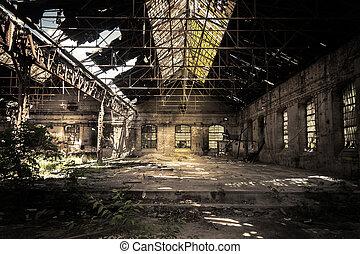interior, industriel, forladt