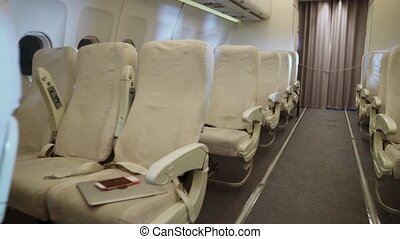 Interior inside airplane cabin without passenger. Empty ...