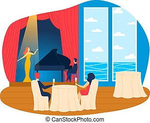 Interior inside cruise liner, luxury restaurant, vacation travel day, enjoyable summer vacation, cartoon style vector illustration