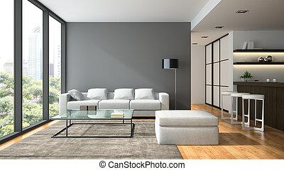 interior, interpretación, diseño, negro, desván, lampl, moderno, 3d