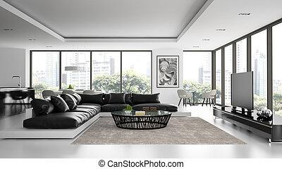 interior, interpretación, diseño, negro, sofá, desván, moderno, 3d
