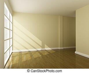 interior, interpretación, habitación, vacío, 3d