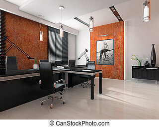 interior, interpretación, moderno, oficina, 3d