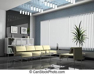 interior, interpretación, negociaciones, oficina, 3d