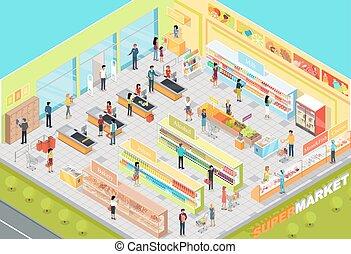 interior, isométrico, vector, proyección, supermercado