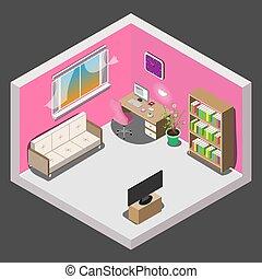 interior, isometric, desenho, sala, menina
