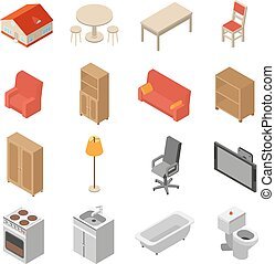 Interior Isometric Icons Set