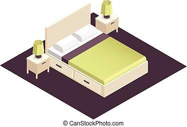 interior, isometric, parte, desenho, quarto