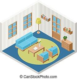 interior, isometric, vetorial, sala, mobília