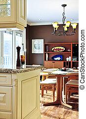 interior, jantar, quarto moderno, cozinha