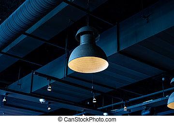 interior, lámpara, moderno, estilo, ahorcadura, design., ...