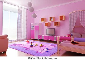interior, la habitación de niños