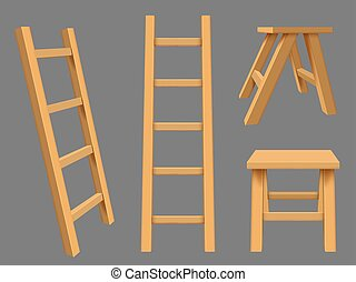 Interior ladders. High rise household objects wooden ladders vector realistic set. Illustration stepladder construction, ladder and staircase