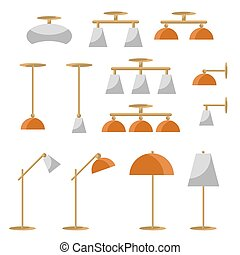 Interior lamp vector icon set.
