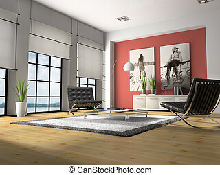 interior, lar, 3d, fazendo