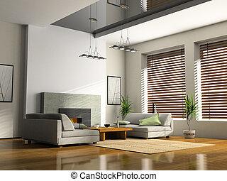 interior lar, com, lareira, e, sofás, 3d, fazendo