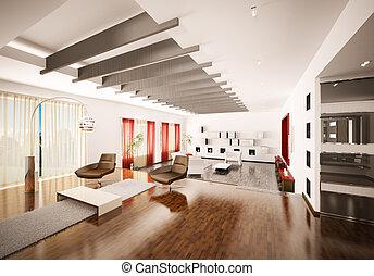 interior lar, de, apartamento, 3d, render