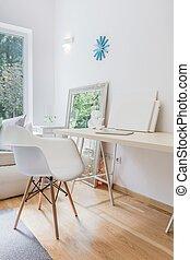 Interior, lar, escritório
