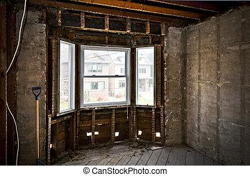 interior, lar, gutted, renovação