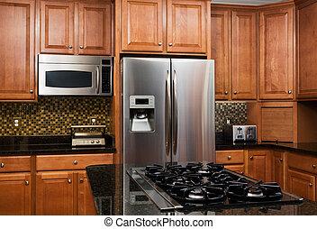 interior, lar, modernos, luxo, cozinha