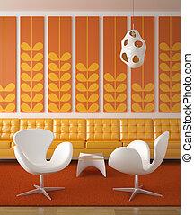 interior, laranja, desenho, retro