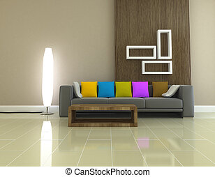 Interior living room 3D rendering