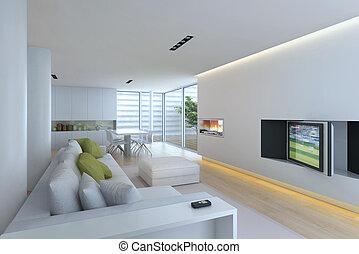 Interior living-room - Interior fashionable living-room 3D...