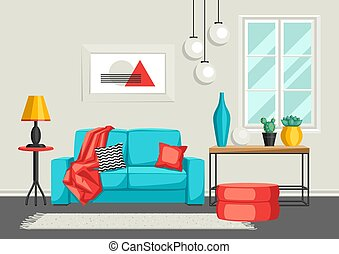 Interior living room. Furniture and home decor. Illustration...