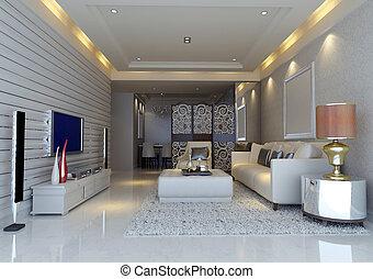 interior, living-room, modernos, render, 3d