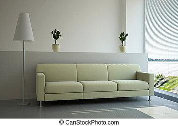 A modern furniture in luminous interior livingroom