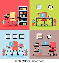 interior, local trabalho, escritório