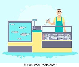 interior, loja peixes