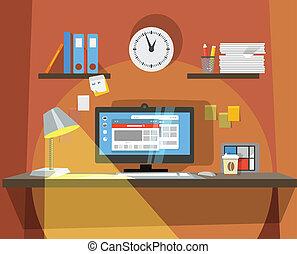 interior, lugar, trabalhando