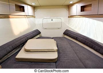 interior, lujo, barco
