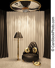 interior, lujoso, real, muebles