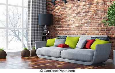 interior., luminoso, moderno, render, 3d