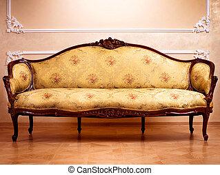 interior, luxo, esculpido, mobília