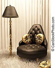 interior, luxurios, desenho, mobília