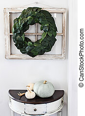 Interior Magnolia Leaf Wreath over Old Window - Old...
