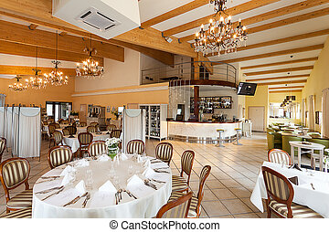 interior, mediterráneo, lujoso, -, restaurante