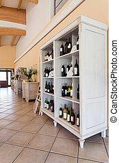 interior, mediterrâneo, vinho, -, gabinete