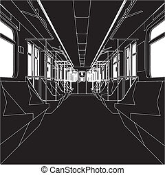 interior, metro, treine vagão