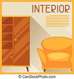 interior, mobília, retro, ilustração, style.