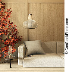interior mock up Chinese style Room interior. 3D rendering