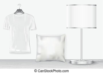 Interior mock up with t-shirt for presentation patterns and...
