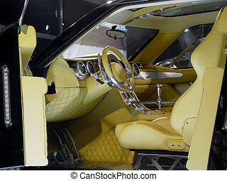 Interior modern car - Luxury car interior in outoshow.