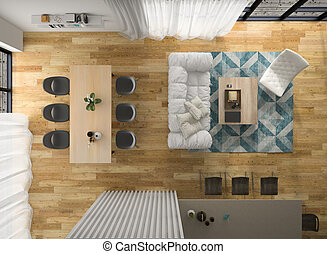 Interior modern design room top view 3D illustration -...