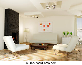interior - modern white room with fireplace construction